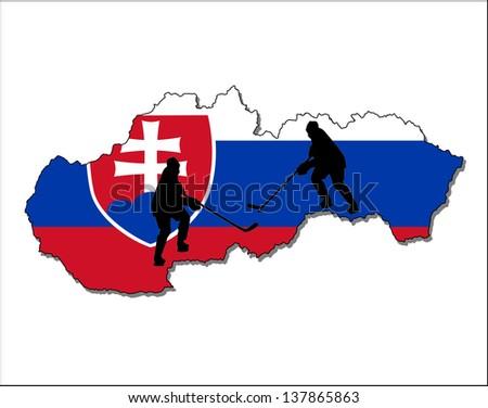 ice hockey  slovakia - stock photo