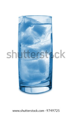 Ice in glass, isolated on white background - stock photo