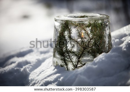Ice lantern with red frozen tulips - stock photo