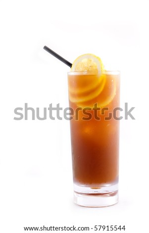 ice lemon tea isolated on white background - stock photo