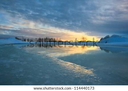 Ice mirror - stock photo