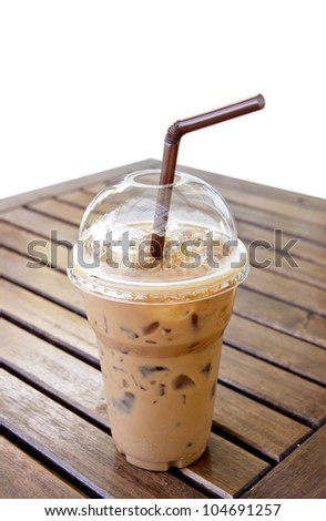 Ice Mocca Coffee on the table - stock photo