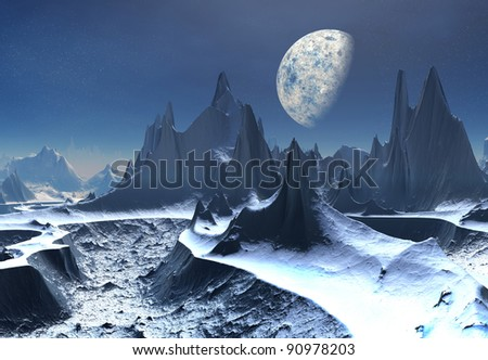 Ice Moon, fantasy alien landscape with, ice, snow and mountains - stock photo