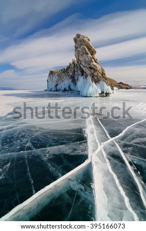 Ice of lake Baikal. Ogoy Island. Russia, Siberia - stock photo
