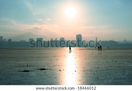 Ice on river - stock photo