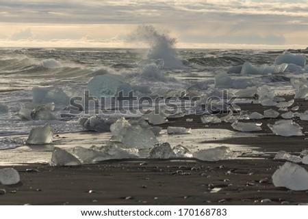 ice on the beach  - stock photo