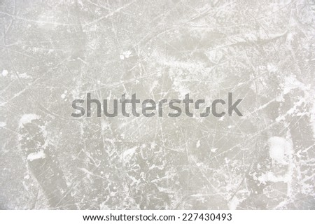 Ice Patterns on Skating Rink - stock photo