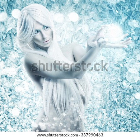 Ice queen - the background frosty, icy, frozen - stock photo