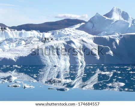 ice reflection/ Greenland,Kangia ice fjord,Ilulissat - stock photo
