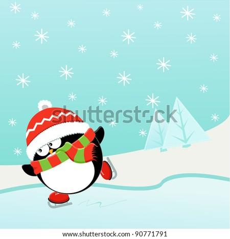 Ice skating Penguin - stock photo