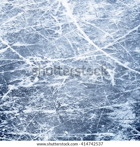 Ice surface with lines from skates - stock photo