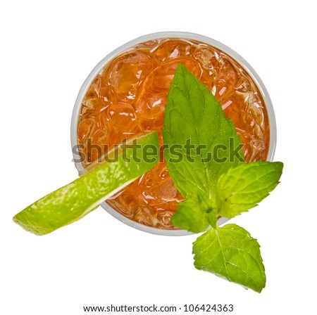 Ice tea drink from top view, isolated on white background - stock photo