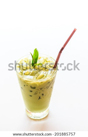 ice tea glass tea milk tea - stock photo