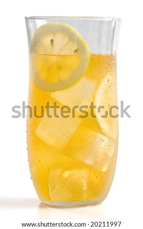 Ice tea isolated on white - Lemonade - stock photo