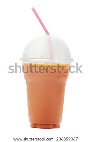 Ice tea with milk isolated on white background. - stock photo
