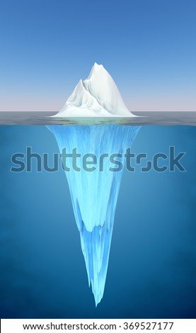 Iceberg floating in the water realistic illustration. - stock photo