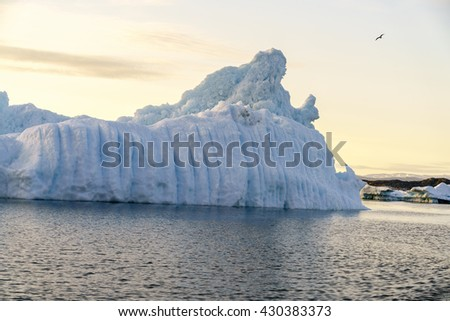 Iceberg on the arctic ocean, Ilulissat fjord, disko bay in  Greenland - stock photo