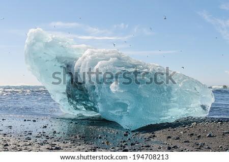 Iceberg on the coast of Jokulsarlon Ice Lagoon - stock photo