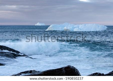 Icebergs along the coast of Newfoundland. - stock photo