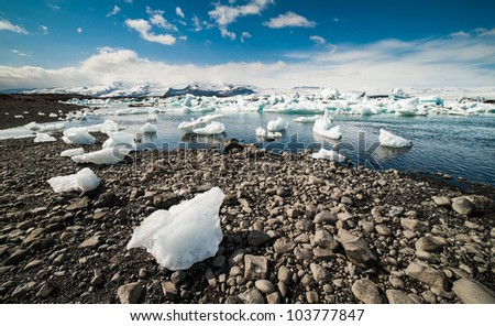 Icebergs at Jokulsarlon. Iceland - stock photo