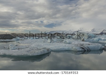 Icebergs floating  - stock photo