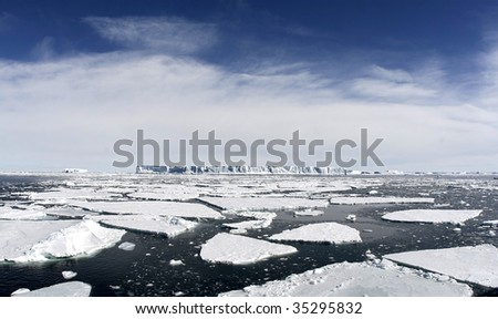 Icebergs floating in the Weddell Sea, Antarcitca - stock photo
