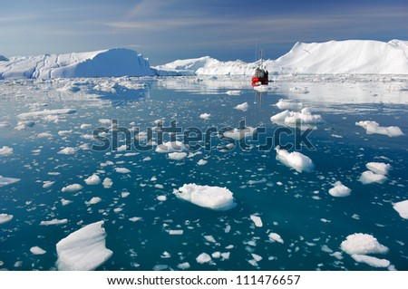 Icebergs in Disko Bay Greenland - stock photo