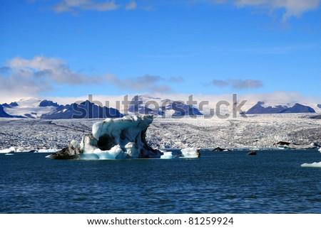 icebergs in Glacier lagoon - stock photo