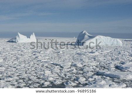 Icebergs in the Antarctic Ocean - 1. - stock photo
