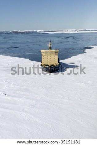 Icebreaker on Antarctica - stock photo