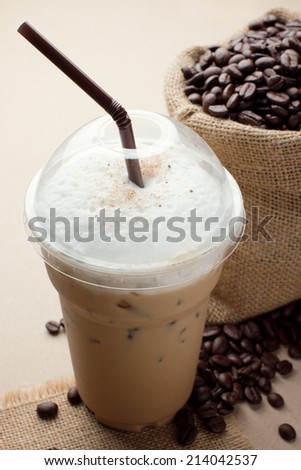 iced blended frappucino, coffee beans - stock photo