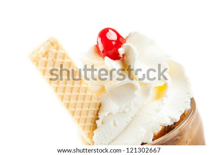 Iced cappuccino with whipped cream Close up - stock photo