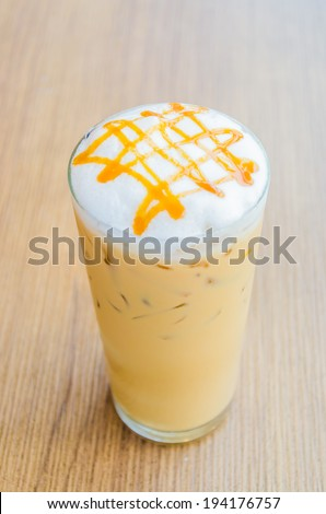 Iced caramel coffee - stock photo