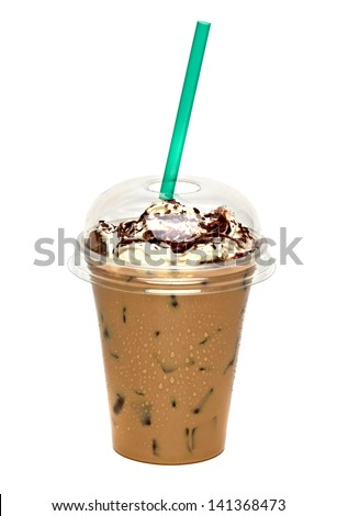 Iced chocolate mocha with cream and sauce in takeaway cup on white background - stock photo