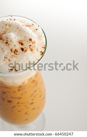 iced coffee cappuccino with whipped cream. - stock photo