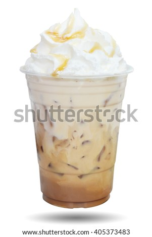 Iced coffee covered with whipped cream caramel in plastic glass to go isolated on white background. This has clipping path. - stock photo