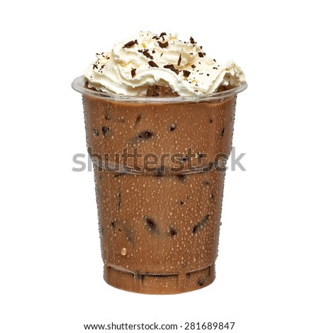 Iced coffee in take away cup including clipping path - stock photo