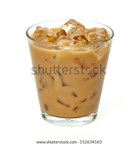 Iced coffee latte in glass including clipping path - stock photo