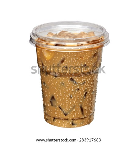 Iced coffee latte in takeaway cup including clipping path - stock photo