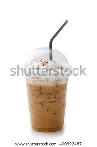 Iced coffee latte in takeaway cup isolated on white background - stock photo