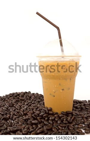 Iced coffee with coffee beans isolated on white background - stock photo