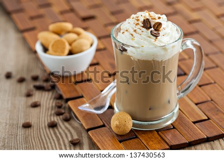 iced coffee with ice and cream - stock photo