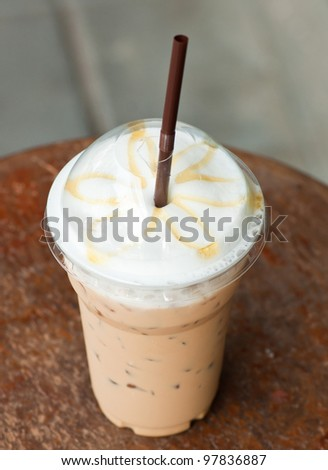 iced coffee with latte art street food style - stock photo