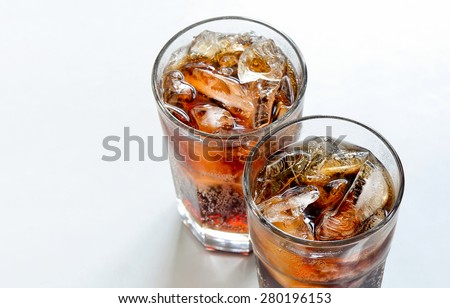 Iced diet cola without sugar in two glasses  - stock photo