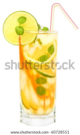 Iced drink with mint and citrus fruit. - stock photo