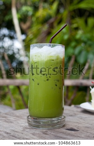 iced green tea in the cafe - stock photo