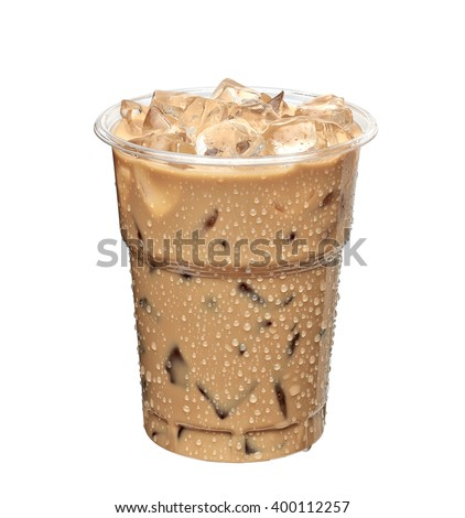 Iced latte or iced coffee in takeaway cup on white background included clipping path - stock photo