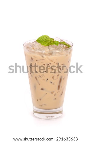 iced mocha in a glass isolated on white background  - stock photo