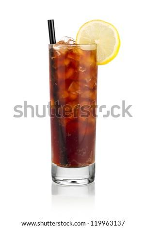 iced soda lemon in front of white background - stock photo