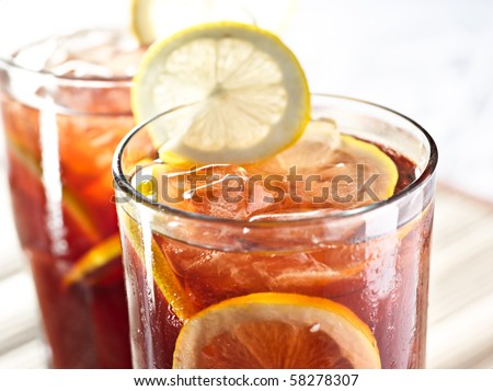 iced tea and lemon - stock photo
